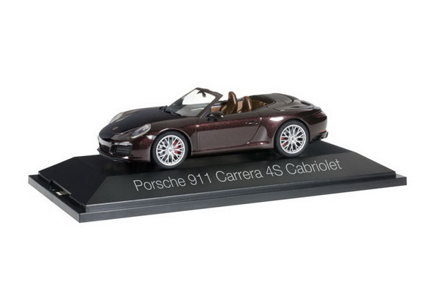 Модель 1:43 Porsche 911 Carrera 4S Cabrio - dark brown
