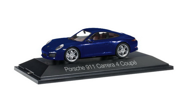Модель 1:43 Porsche 911 (991) Carrera 4 Coupe - dark blue