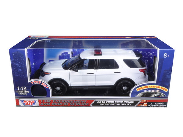 Модель 1:18 Ford POLICE INTERCEPTOR UTILITY WHITE W/ LIGHTS & SOUND 2015
