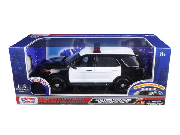 Модель 1:18 Ford POLICE INTERCEPTOR BLACK/WHITE W/ LIGHTS & SOUND 2015