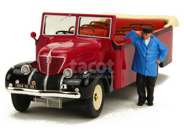 Модель 1:43 Rochet Schneider 23000 Chaboud Autocar Torpédo 1937 Red/Black/ With Figurin