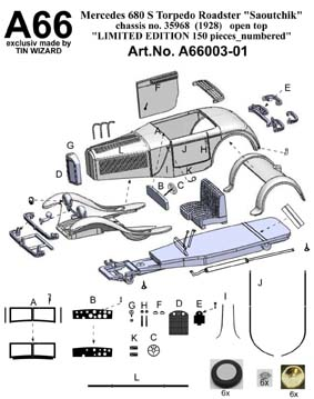 Модель 1:43 Mercedes-Benz 680 S 26/120/180 PS Torpedo Roadster Saoutchik Ch.№xxxxx open top KIT