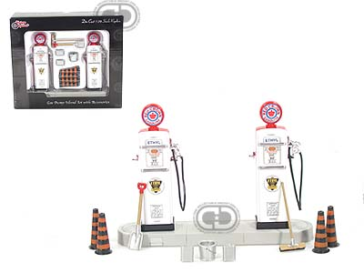 Модель 1:24 Diecast Gas Pump Island Set w/ Accessories